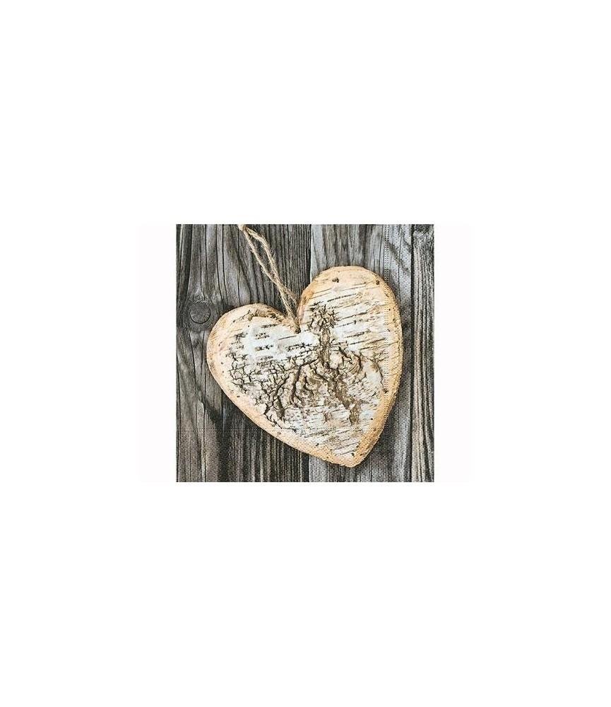 Servilleta de papel corazon de madera
