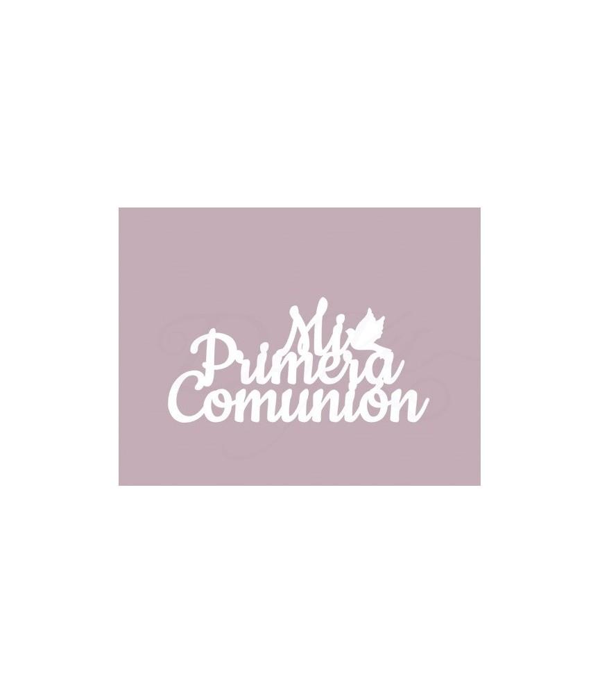 Silueta carton blanco frase mi primera comunión