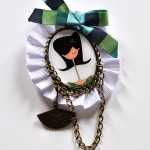 Broche blanco y verde chica - Baba broches y cositas