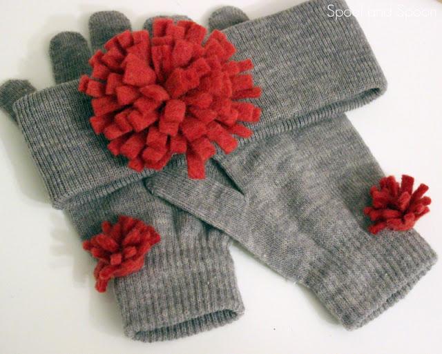 Decorar guantes con flores de fieltro