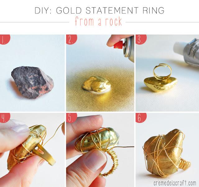 Manualidad un anillo de color oro