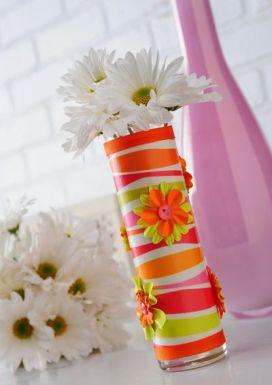 florero hecho con vaso