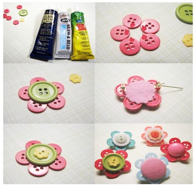 broche realizado con botones