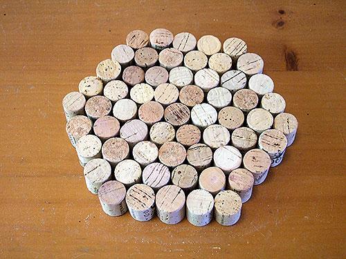 hexagono de corchos