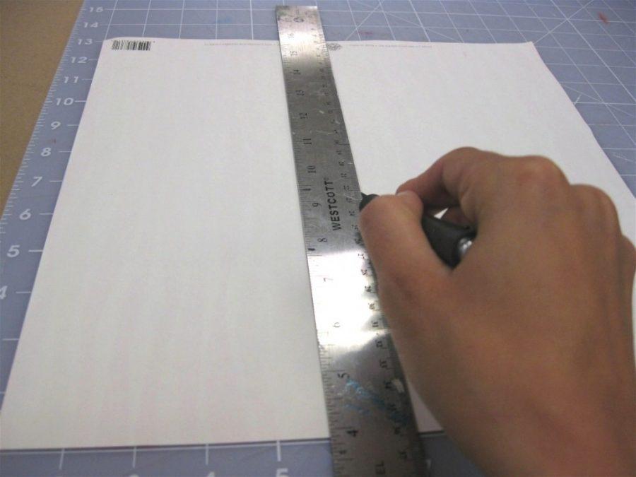 Medimos el trozo de papel scrapbook