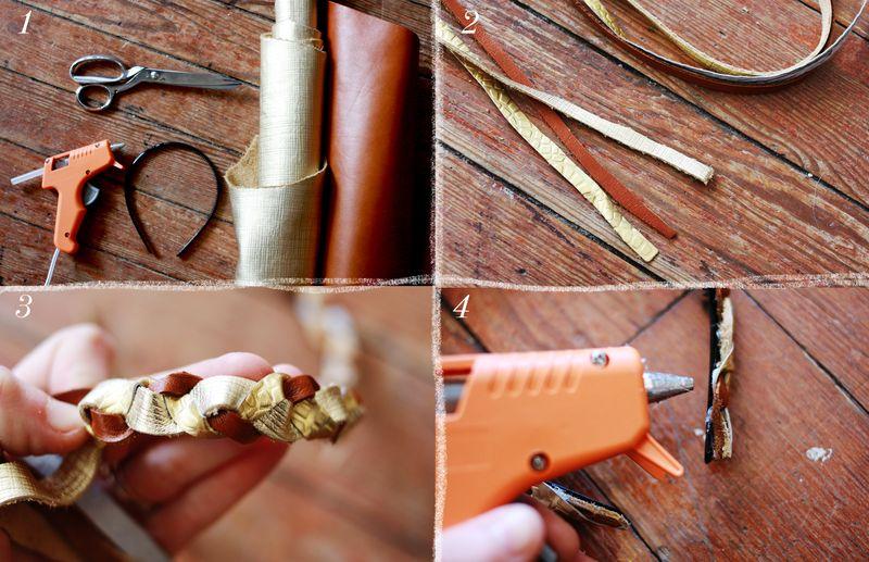 materiales para hacer diadema de cuero trenzada