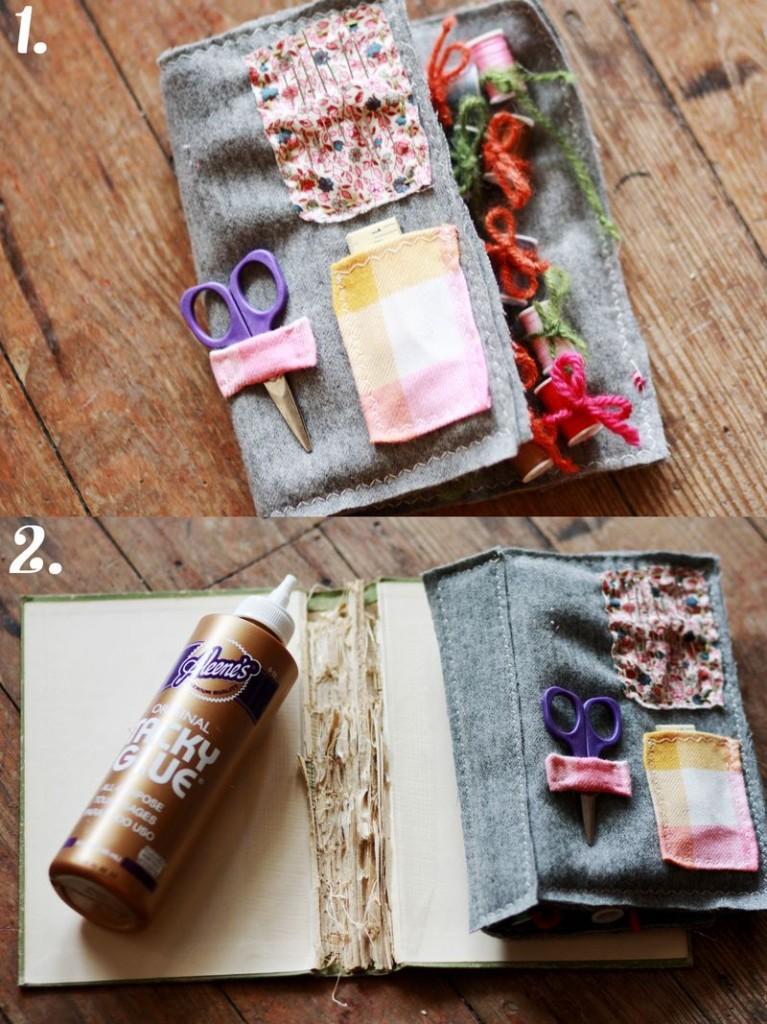 costurero infantil con tapas de librio y tela