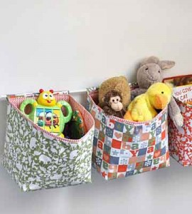 cestas infantiles con tela patchwork