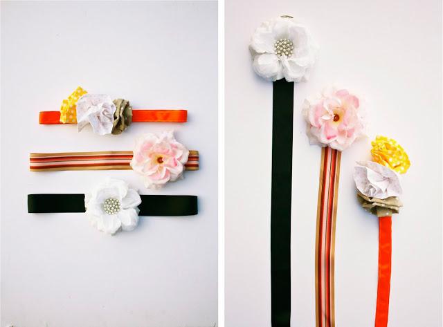 cinturones con flores de tela colores