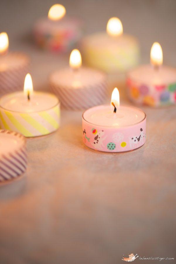 velas y portavelas decorados con cintas washi tape