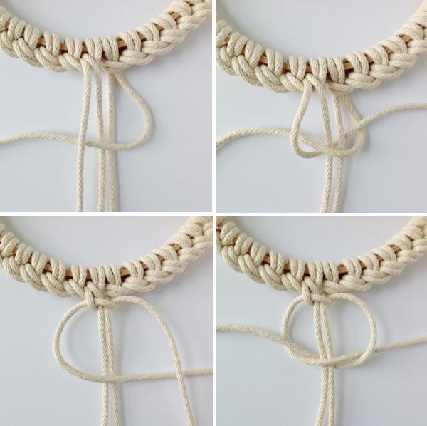 nudo final de la cuerda en el bastidor
