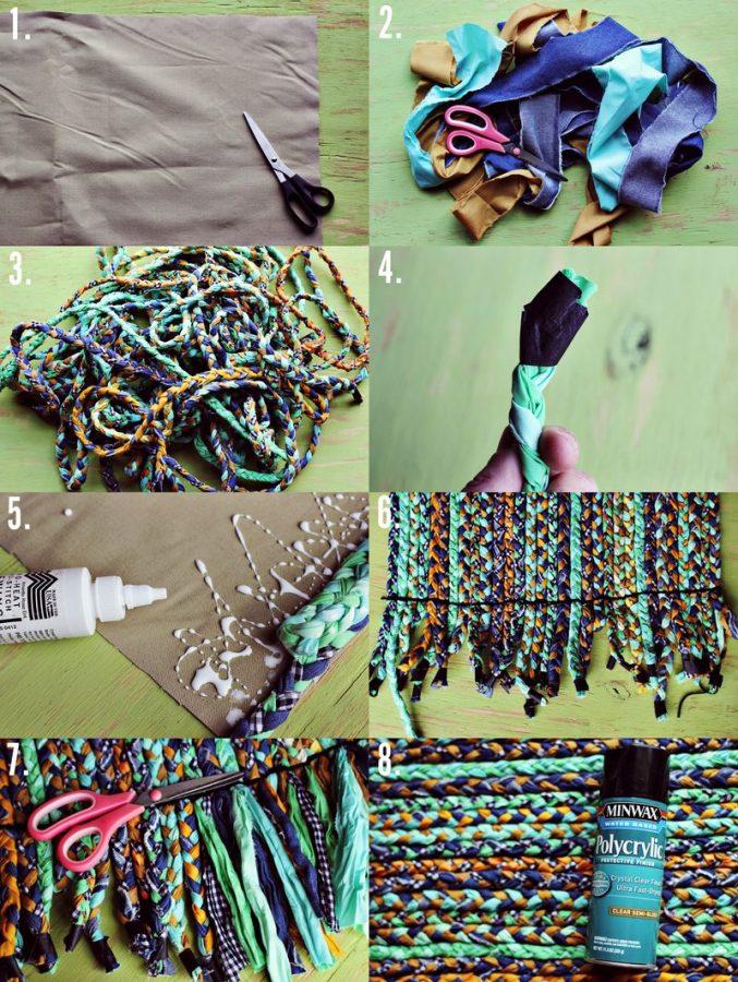 pasos para hacer una alfombra de tela trenzada