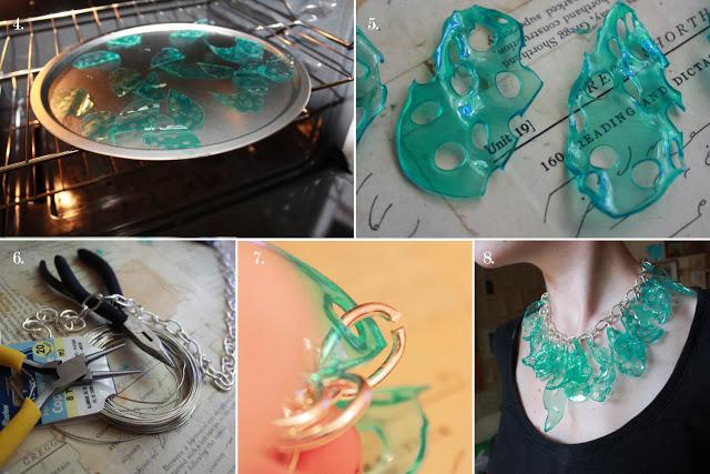 como hacer collar con vasos de plastico