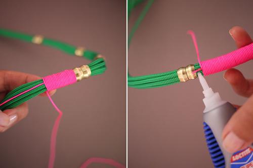 unir cordon rosa al verde