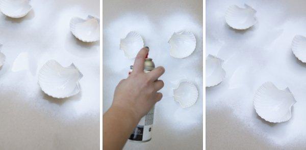 conchas pintadas de blanco