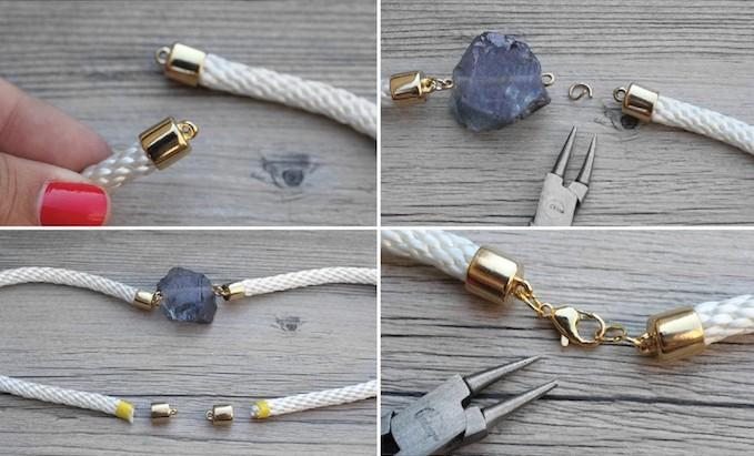 tutorial collar con cuerda y una piedra