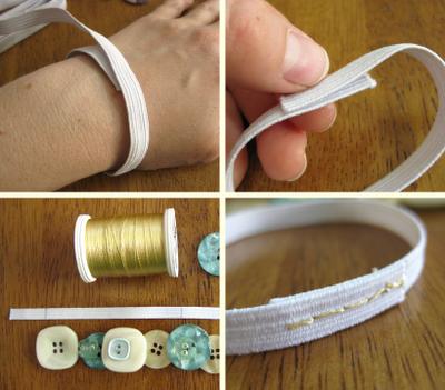 materiales para hacer una pulsera de botones