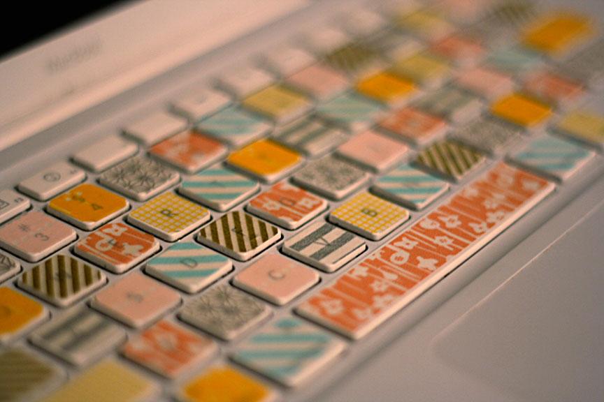 teclado decorado con washi tape