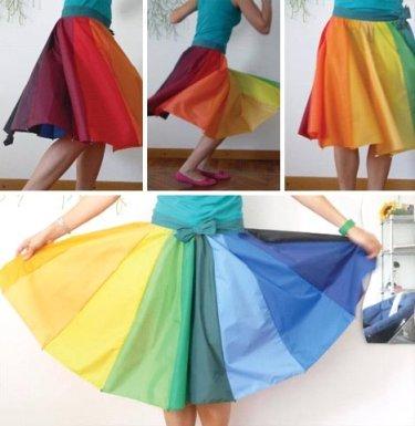 falda hecha con paraguas