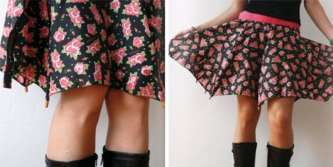 falda hecha con un paraguas reciclado
