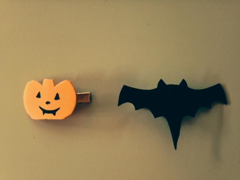 Pinza pelo Halloween murcielago y calabaza