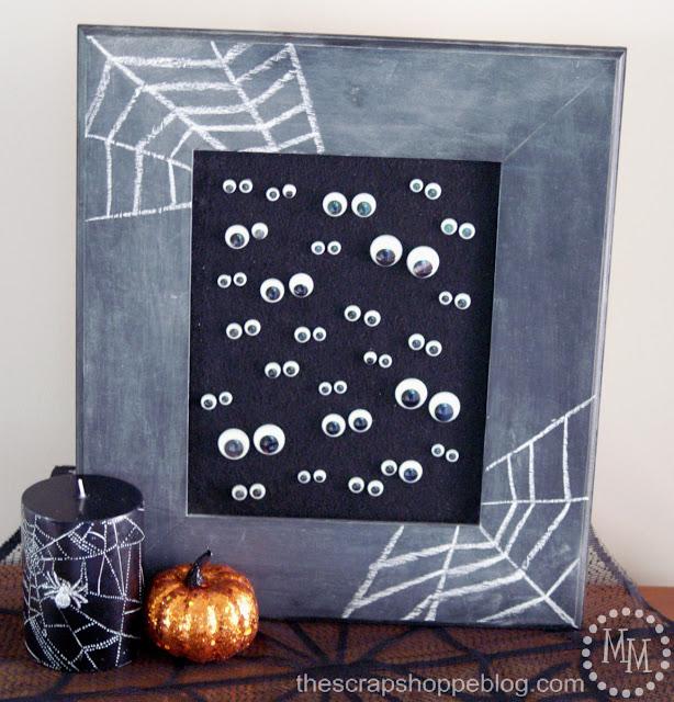 marco de pizarra con ojos moviles para halloween