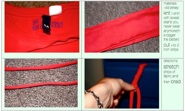 materiales para hacer una trenza de una camiseta