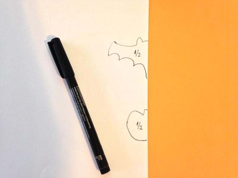 Dibujamos plantilla de murcielago y calabaza