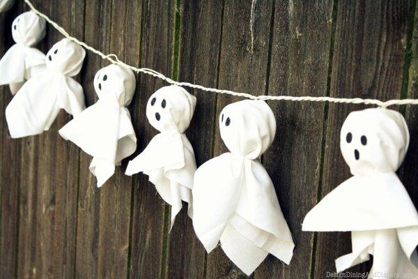 guirnalda de fantasmas de tela