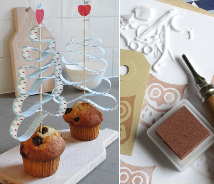 cupcakes decorados con arboles de navidad en papel
