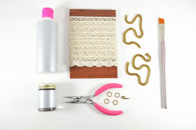materiales para hacer un collar de cadena y encaje