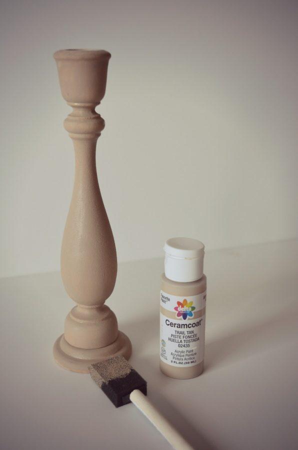 pintar candelabro para hacer un topiario de navidad