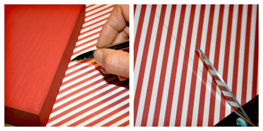 recortar papel con la medida del taco de madera para hacer colgador de Navidad