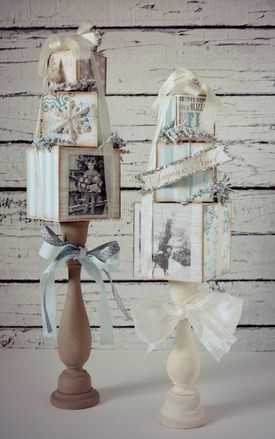topiarios decorados con tecnica decoupage para navidad