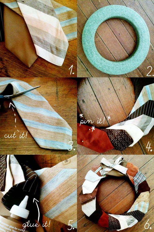 DIY corona de Navidad hecha con corbatas