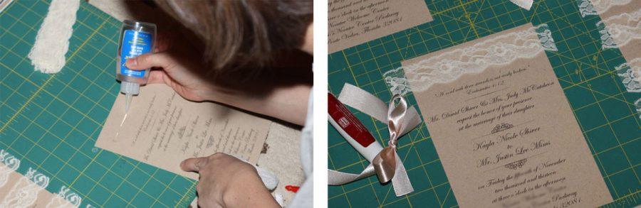 pegar cinta decorativa a la invitacion