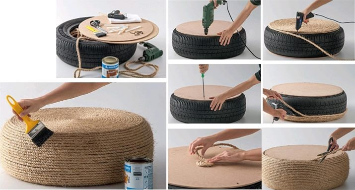 reciclar un viejo neum tico para hacer un puff blog material para manualidades con idea de. Black Bedroom Furniture Sets. Home Design Ideas