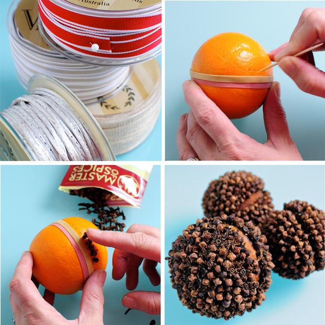 naranja cubierta de clavos