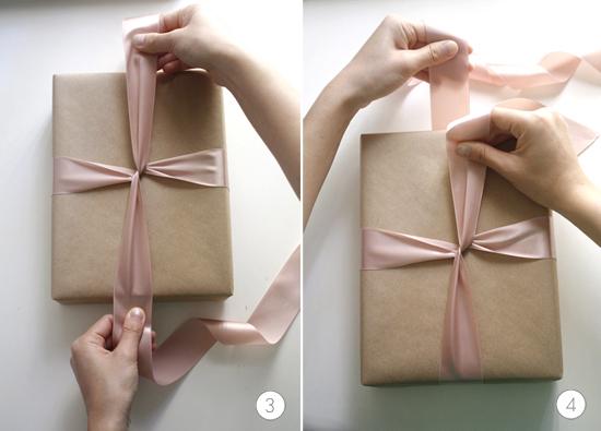 pasos 3 y 4 para hacer un lazo perfecto para un regalo
