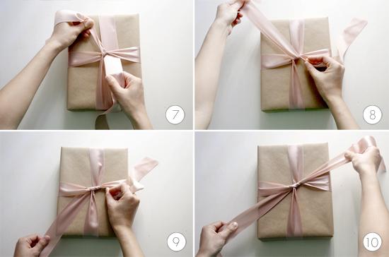 pasos 7_8_9 y 10 para hacer un lazo perfecto para un regalo