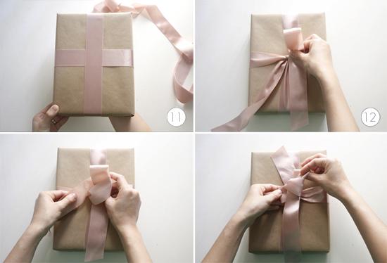 pasos 11_12_13 y 14 para hacer un lazo perfecto para un regalo
