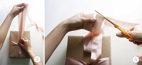 pasos 5 y 6 para hacer un lazo perfecto para un regalo