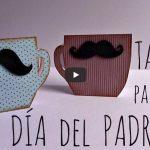 Tarjeta taza de café y bigote para el día del padre