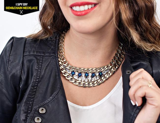 56a57005b5a2 Cómo hacer un collar con cadenas y Swarovski - Blog material para ...