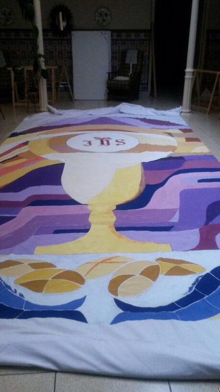 Decoracion Corpus - toldo pintado con pintura acrilica