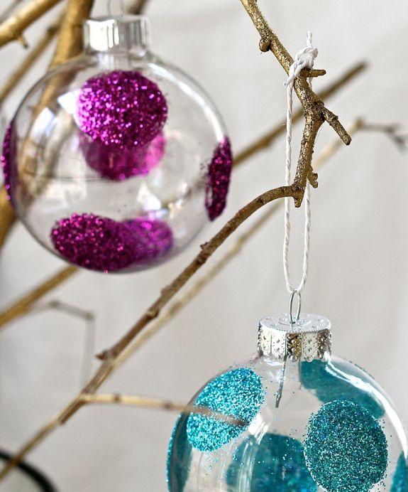 esferas navidad decoradas con purpurina