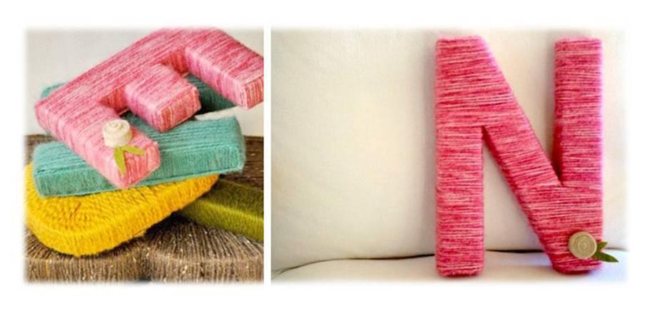 Letras de madera decoradas con lana