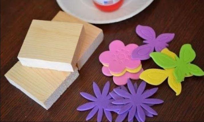 tacos y formas para hacer sellos con goma eva