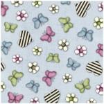 Tela Gorjuss estampado mariposas, flores y corazones fondo azul