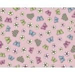 Tela Gorjuss estampado mariposas, flores y corazones fondo rosa